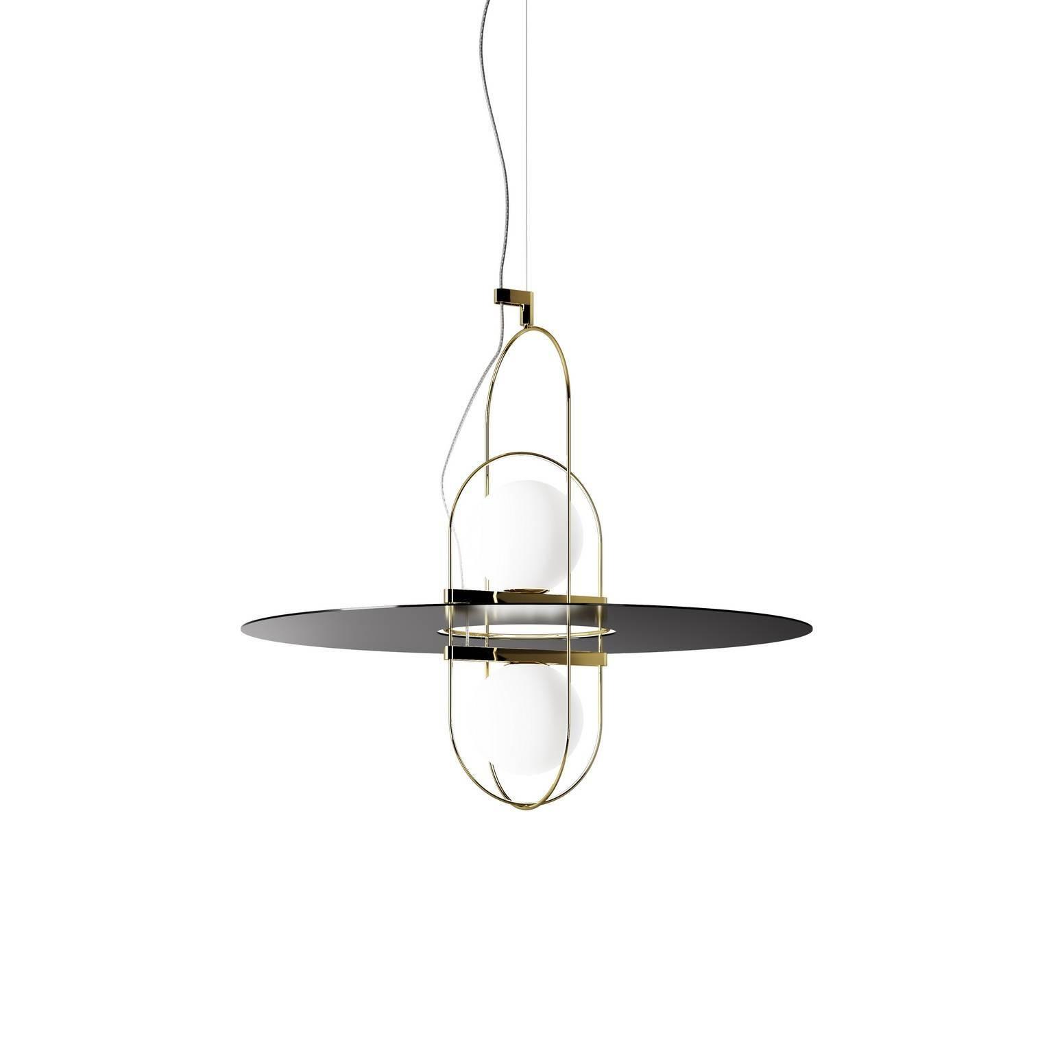 "Fontana Arte ""Setareh"" Pendant Lamp with Two Glass Balls by Francesco Librizzi"