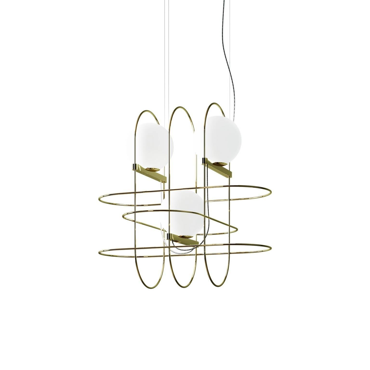 """Setareh"" Pendant Lamp with Three Glass Balls by Francesco Librizzi"