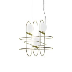 """Setareh"" Pendant Lamp with Three Glass Balls by Francesco Librizzi"