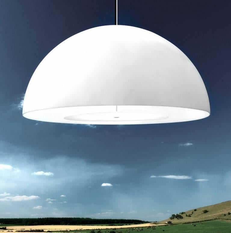 Italian FontanaArte 'Avico' White Outdoor Pendant Lamp Designed by Charles Williams For Sale
