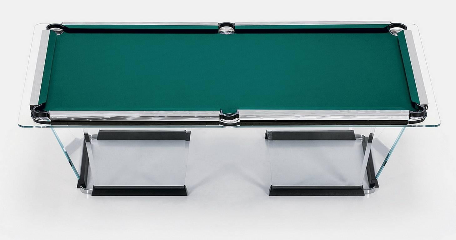 T Crystal Pool Table With Chrome Plated Covers By Marc Sadler - Chrome pool table