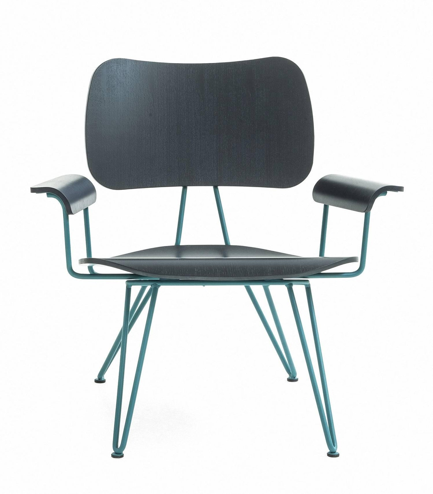 Overdyed Aniline Dyed Ash Plywood And Steel Lounge Chair By