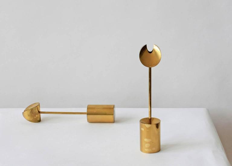 Lacquered Pierre Forsell Brass Candleholders For Sale