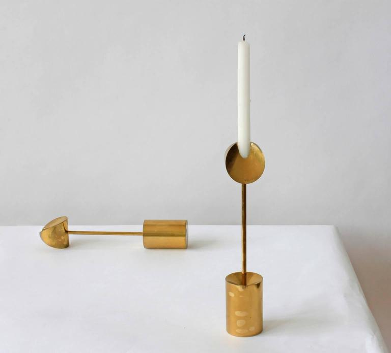 Mid-20th Century Pierre Forsell Brass Candleholders For Sale