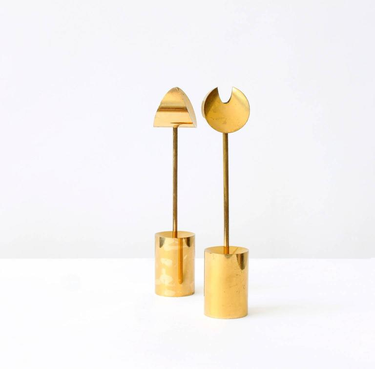 Pierre Forsell Brass Candleholders For Sale 1