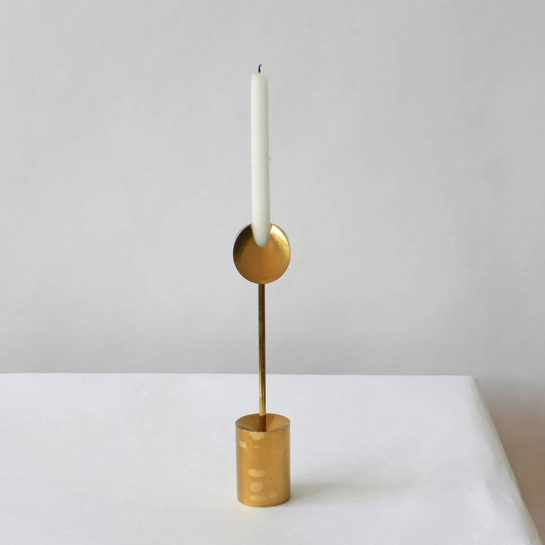 Swedish Pierre Forsell Brass Candleholders For Sale