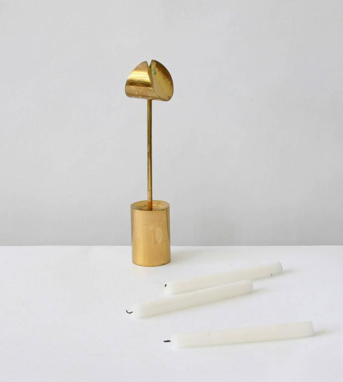 Mid-Century Modern Pierre Forsell Brass Candleholders For Sale