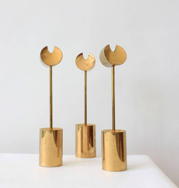 Pierre Forsell Brass Candleholders In Good Condition For Sale In Brussels, BE