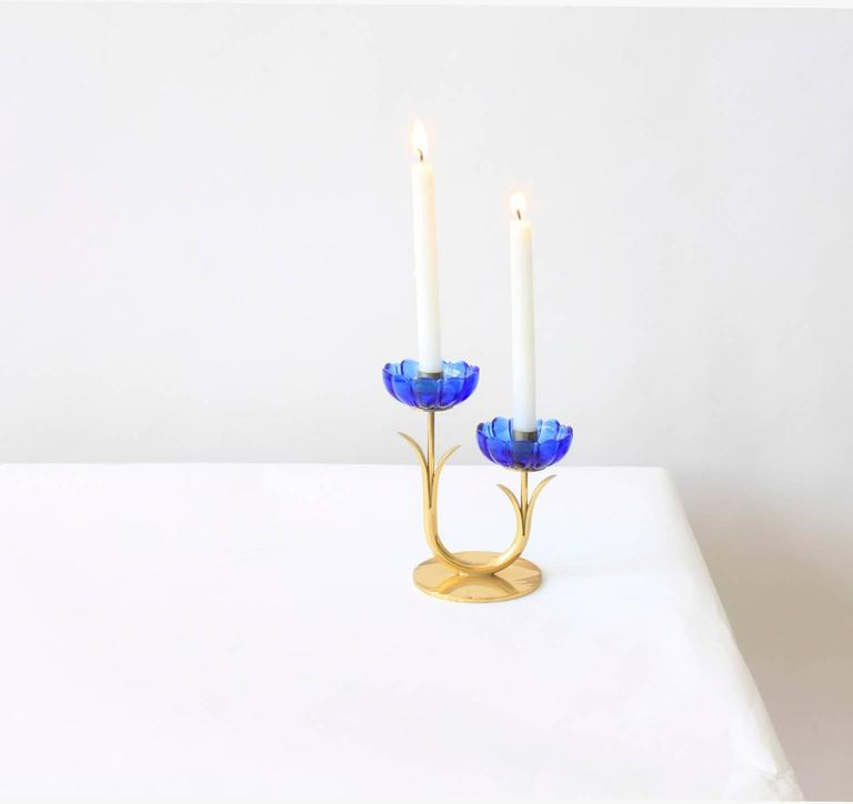 Mid-Century Modern Delicate Gunnar Ander Flower Candleholders For Sale