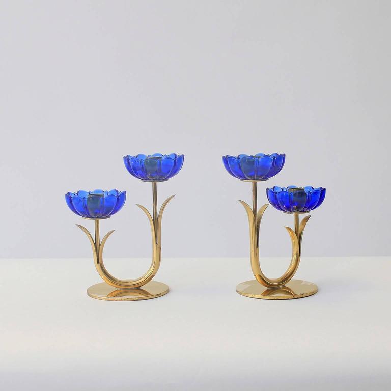 Swedish Delicate Gunnar Ander Flower Candleholders For Sale