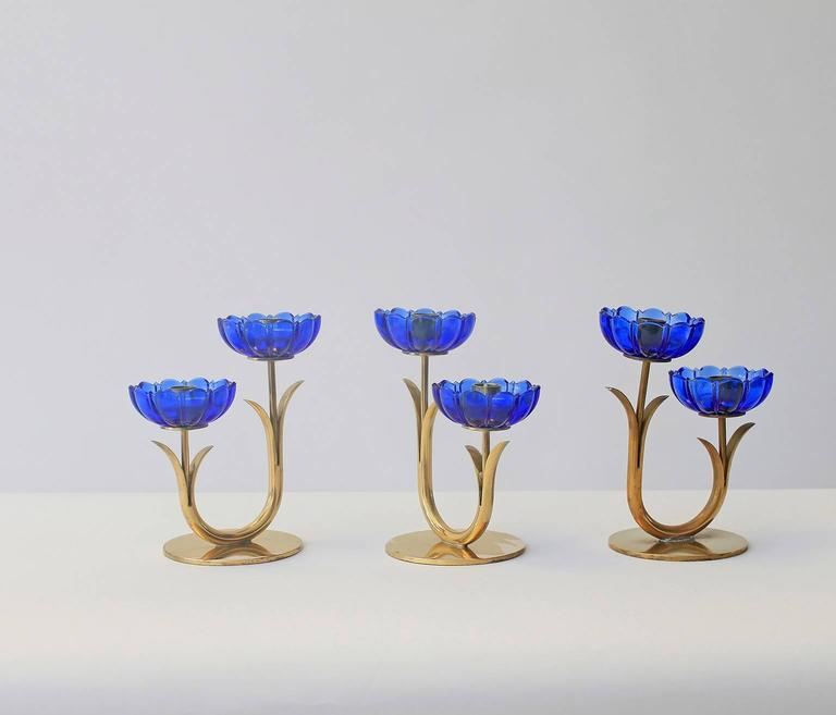 Delicate Gunnar Ander Flower Candleholders In Good Condition For Sale In Brussels, BE
