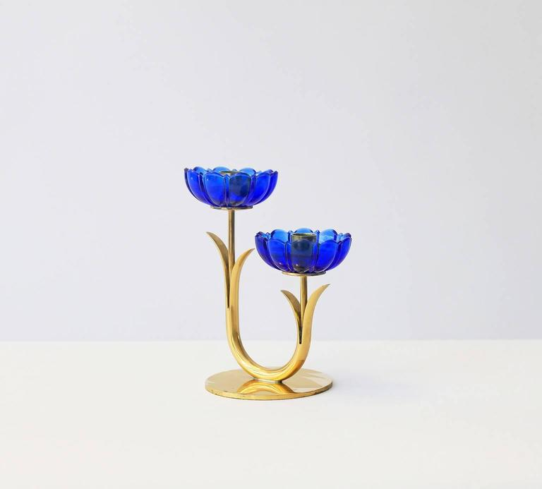 Gold Plate Delicate Gunnar Ander Flower Candleholders For Sale