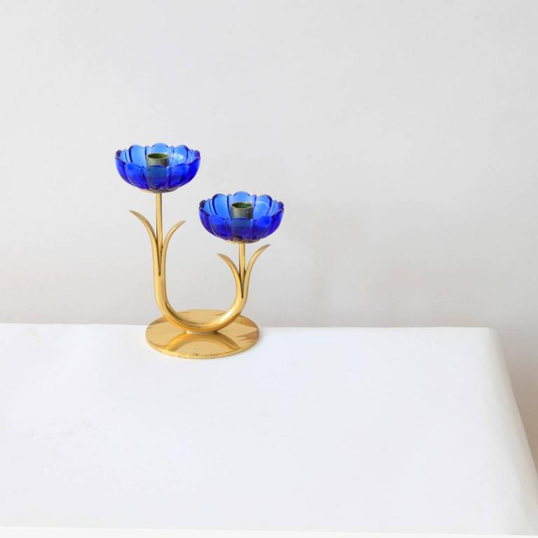 Delicate Gunnar Ander Flower Candleholders For Sale 1