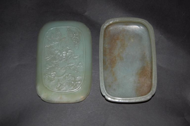 A Chinese Jade box with floral decorations