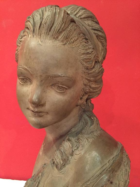 Terracotta French Bust of a Young Woman For Sale