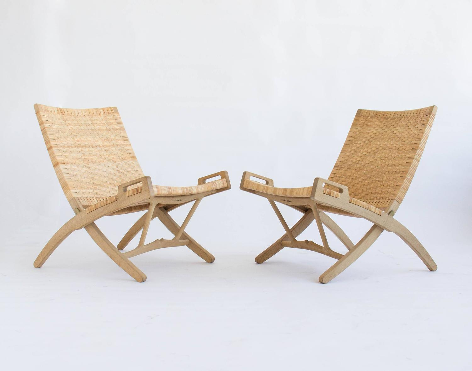 Pair of Oak and Cane Folding Lounge Chairs by Hans Wegner for PP Møbler For Sale at 1stdibs