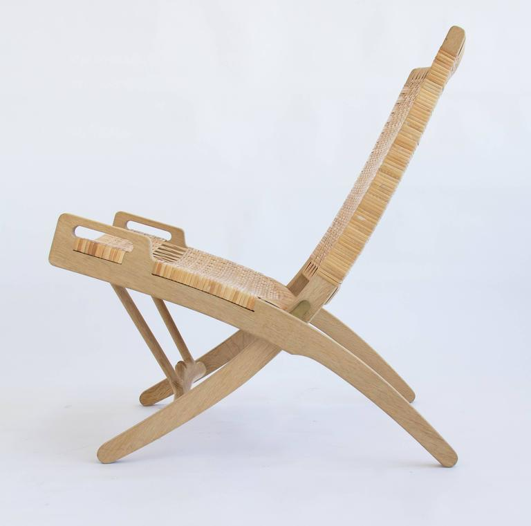 Brass Pair of Hans Wegner Oak and Cane Folding Lounge Chairs