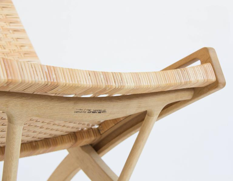 Pair of Hans Wegner Oak and Cane Folding Lounge Chairs  2