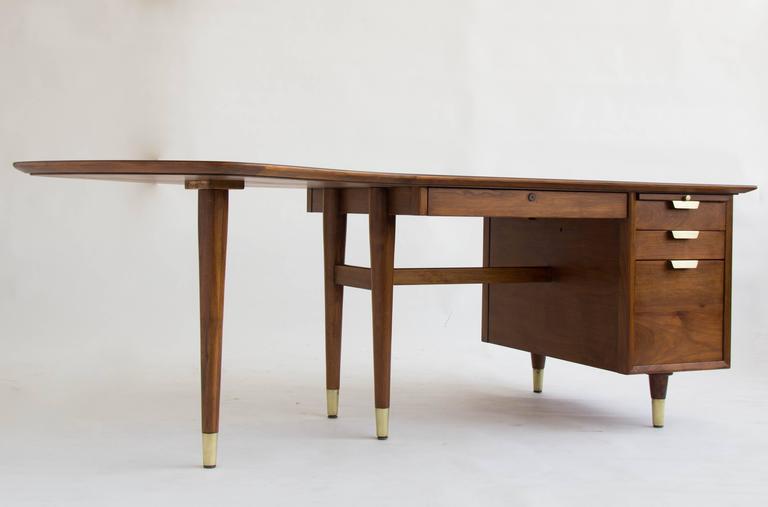 Walnut Executive Desk By William H. Sullivan For Standard Furniture Company  2