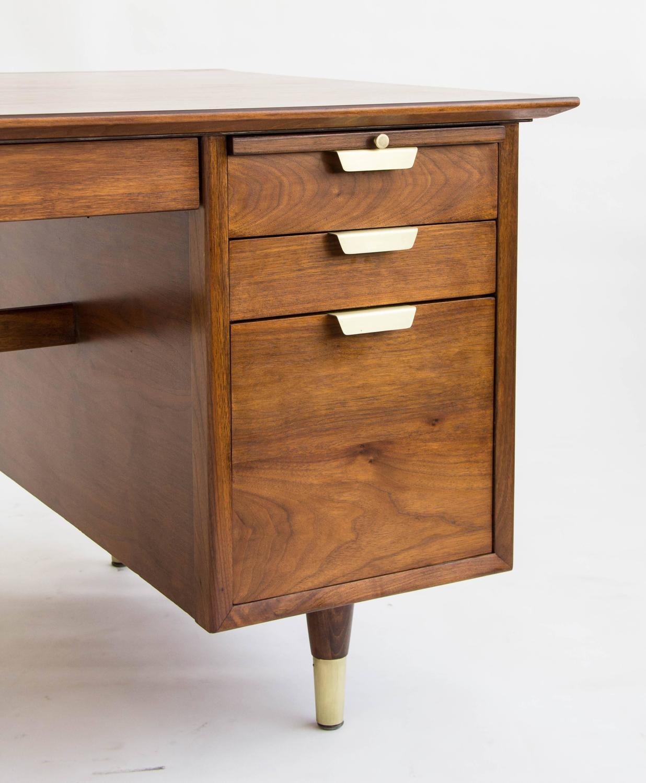 Walnut Executive Desk by William H Sullivan for Standard