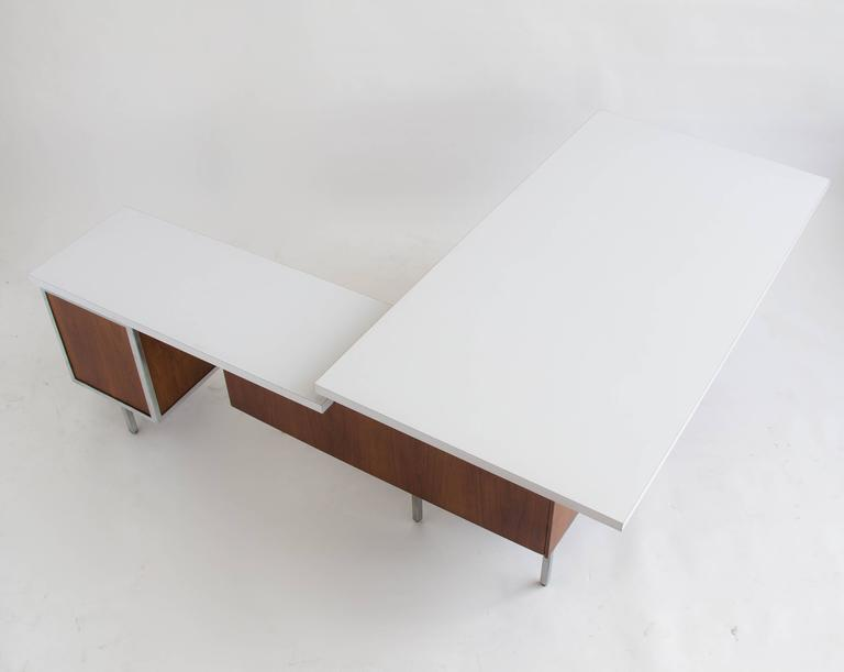 Mid Century Modern Executive Desk And Return By Robert John For Sale