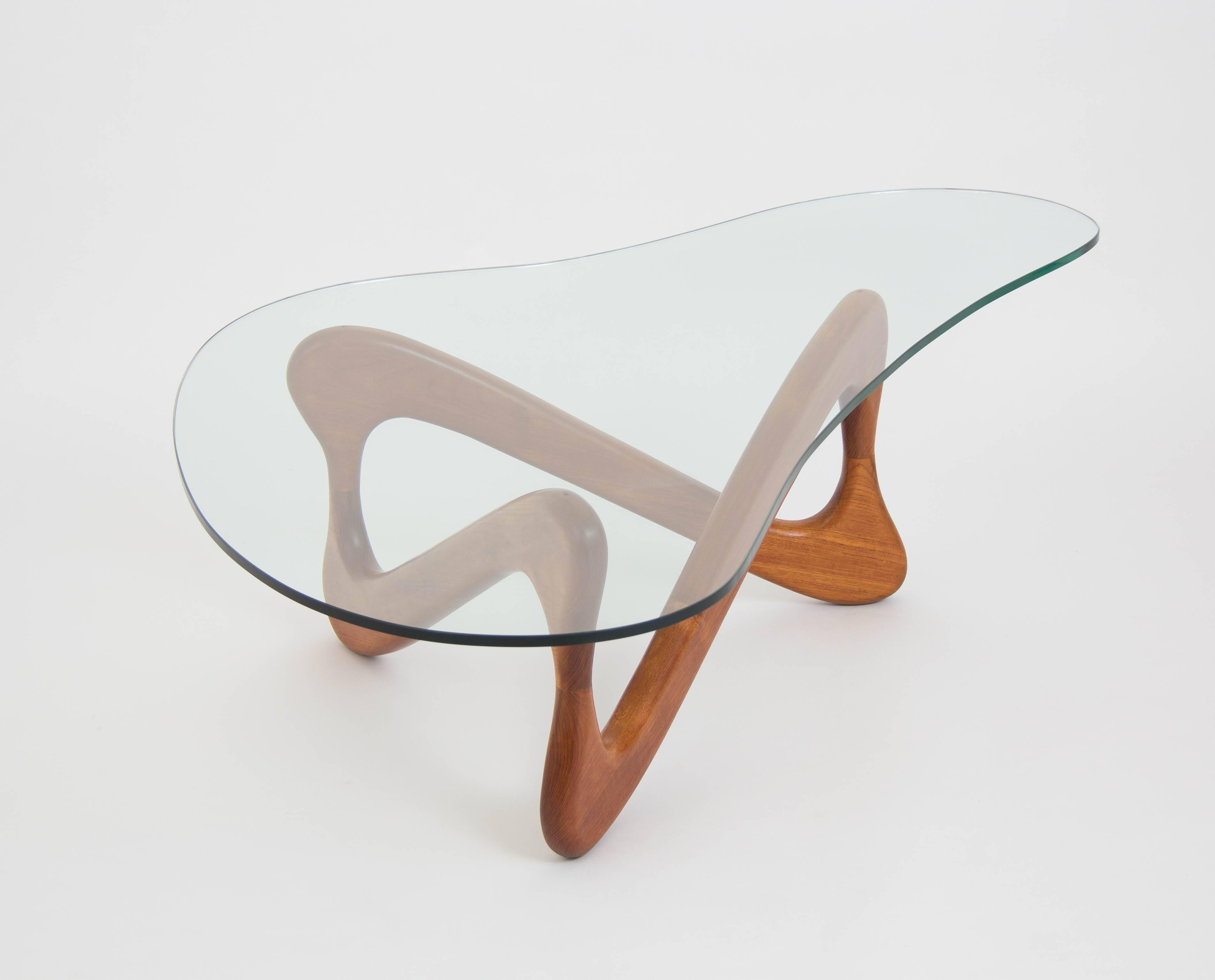 20th Century Biomorphic Glass Coffee Table With Wooden Loop Base For Sale