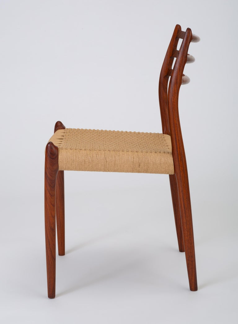Danish Set of Six Model 78 Rosewood Dining Chairs by N.O. Møller For Sale