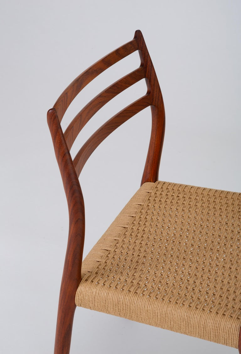 Mid-20th Century Set of Six Model 78 Rosewood Dining Chairs by N.O. Møller For Sale