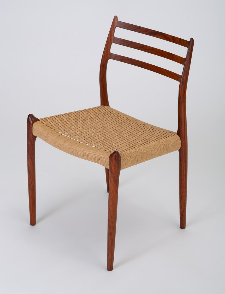 Papercord Set of Six Model 78 Rosewood Dining Chairs by N.O. Møller For Sale