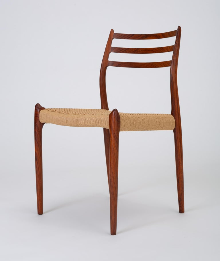 Set of Six Model 78 Rosewood Dining Chairs by N.O. Møller For Sale 1