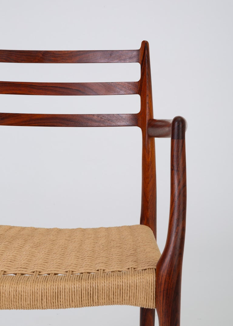 Set of Six Model 78 Rosewood Dining Chairs by N.O. Møller For Sale 4