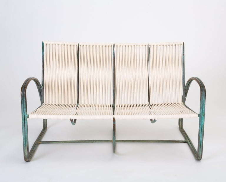 Mid-Century Modern Walter Lamb Bronze Patio Settee by Brown Jordan For Sale