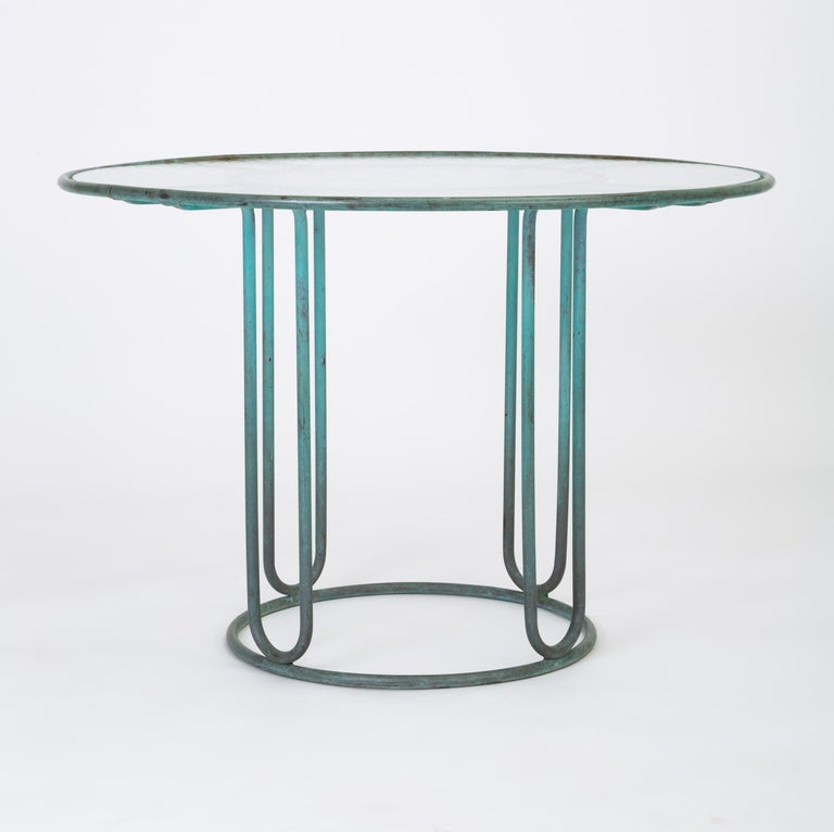 Mid-Century Modern Walter Lamb Round Patio Dining Table with Glass Top For Sale