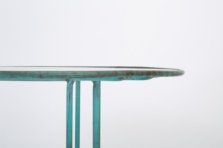 20th Century Walter Lamb Round Patio Dining Table with Glass Top For Sale