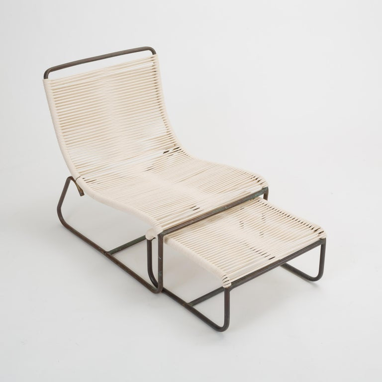 Pair of Walter Lamb Sleigh Chairs with Single Ottoman In Good Condition For Sale In Los Angeles, CA