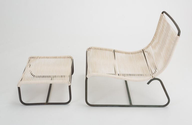 Mid-Century Modern Pair of Walter Lamb Sleigh Chairs with Single Ottoman For Sale