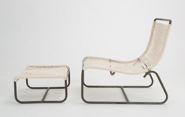 American Pair of Walter Lamb Sleigh Chairs with Single Ottoman For Sale