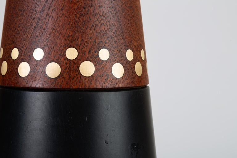 20th Century Danish Teak Lamp with Inlaid Brass For Sale