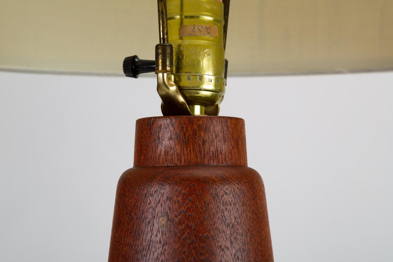 Danish Teak Lamp with Inlaid Brass For Sale 1