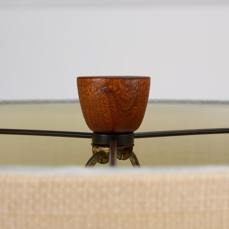 Danish Teak Lamp with Inlaid Brass For Sale 2