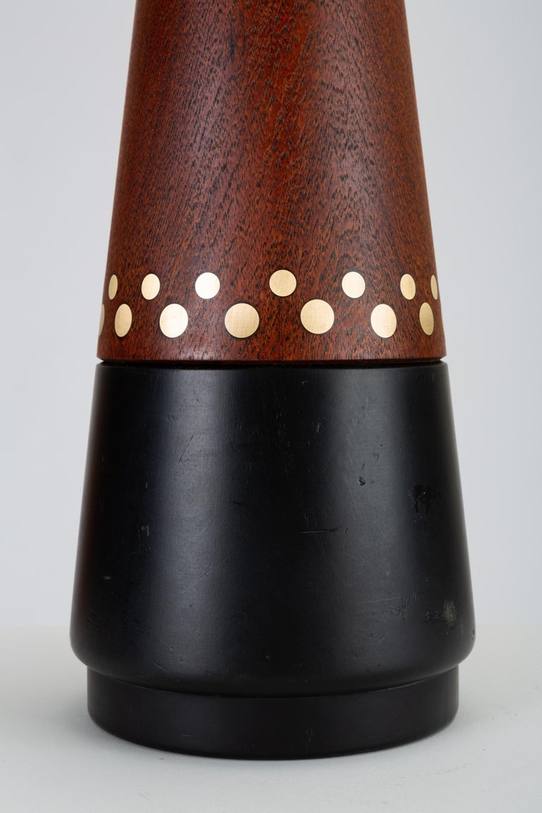 Danish Teak Lamp with Inlaid Brass In Good Condition For Sale In Los Angeles, CA