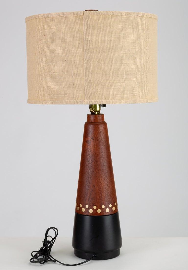 Scandinavian Modern Danish Teak Lamp with Inlaid Brass For Sale