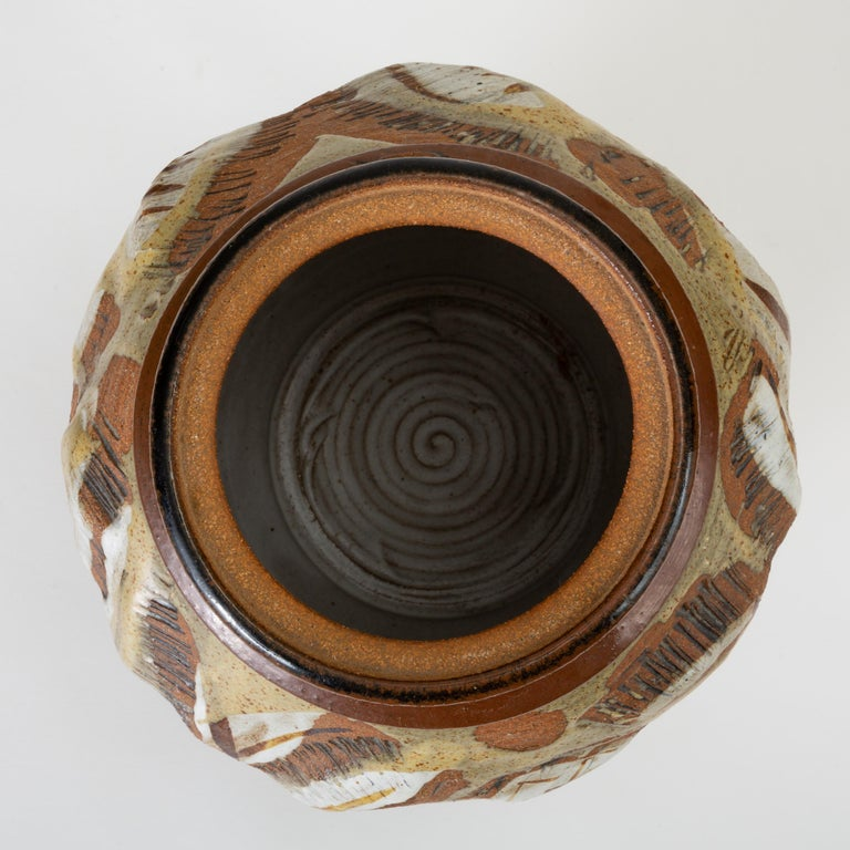 20th Century California Modern Large Studio Pottery Jar with Lid by Don Jennings For Sale