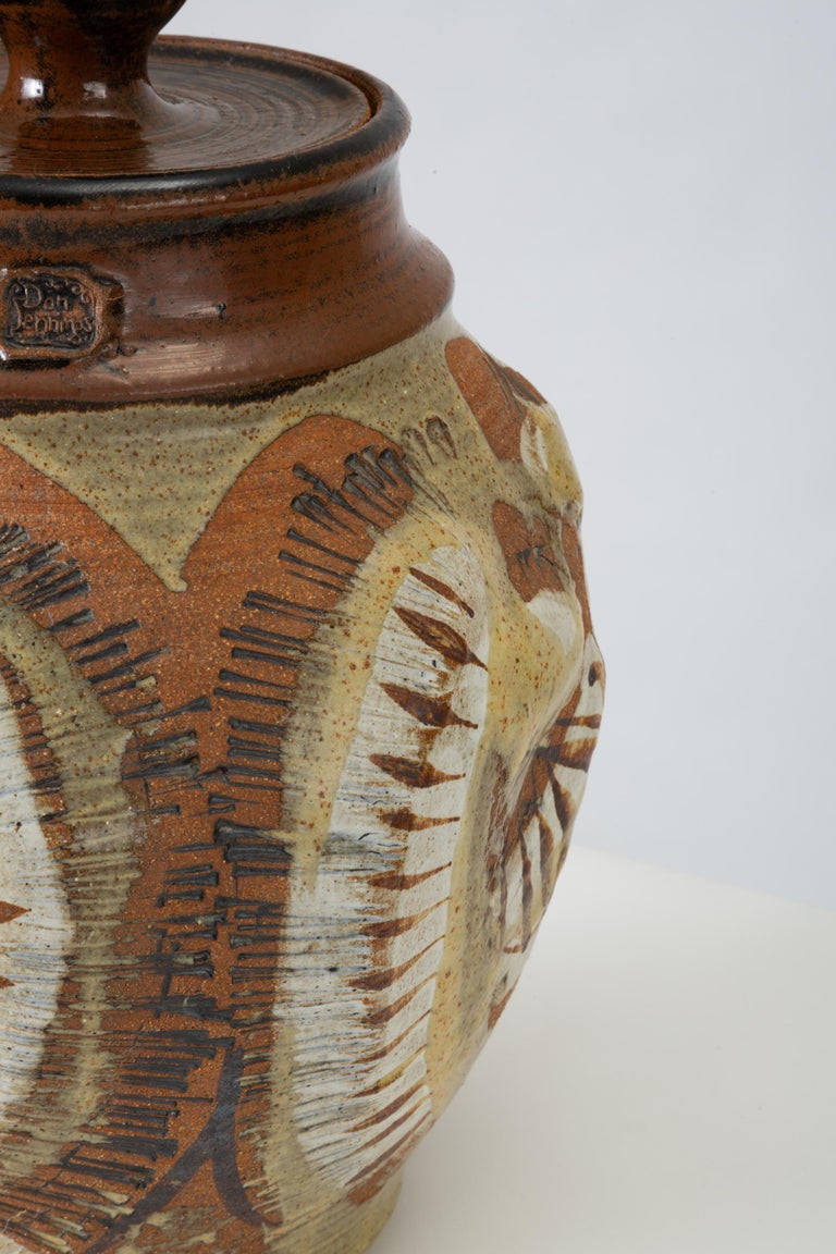 California Modern Large Studio Pottery Jar with Lid by Don Jennings For Sale 2