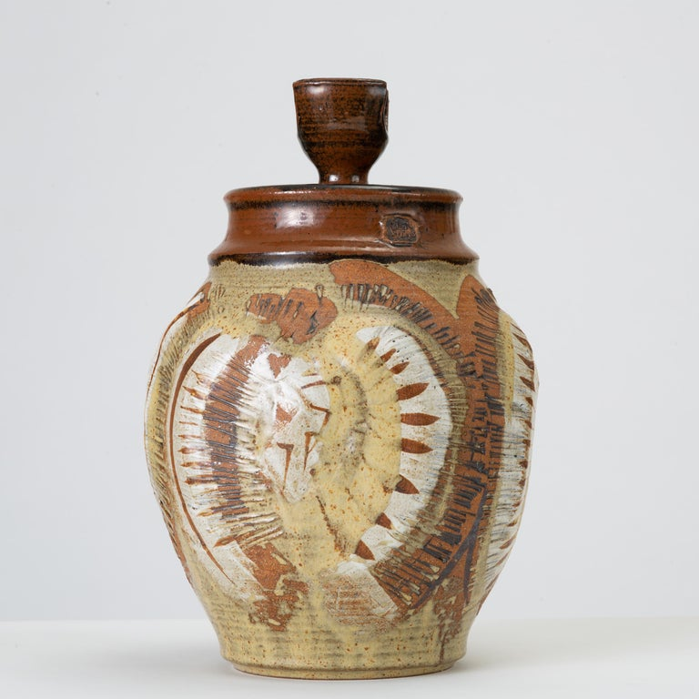 Mid-Century Modern California Modern Large Studio Pottery Jar with Lid by Don Jennings For Sale