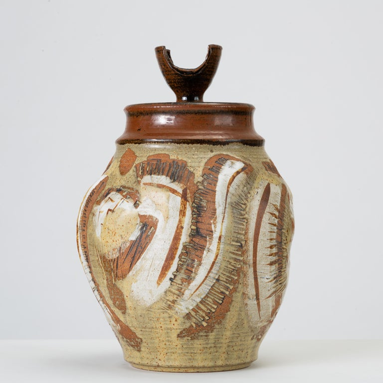 American California Modern Large Studio Pottery Jar with Lid by Don Jennings For Sale