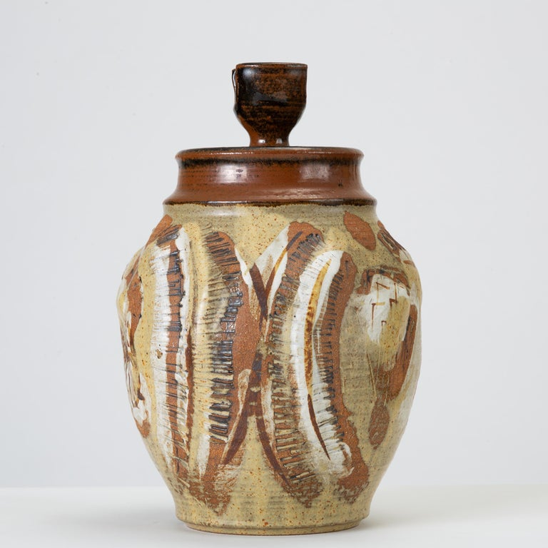 Glazed California Modern Large Studio Pottery Jar with Lid by Don Jennings For Sale