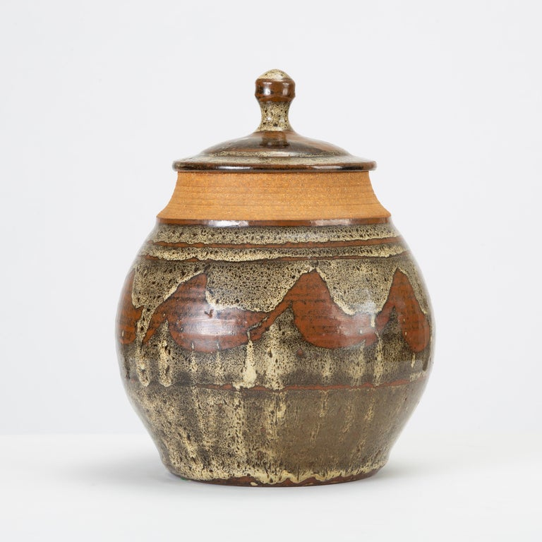 Mid-Century Modern California Modern Studio Pottery Jar with Abstract Pattern by Don Jennings For Sale