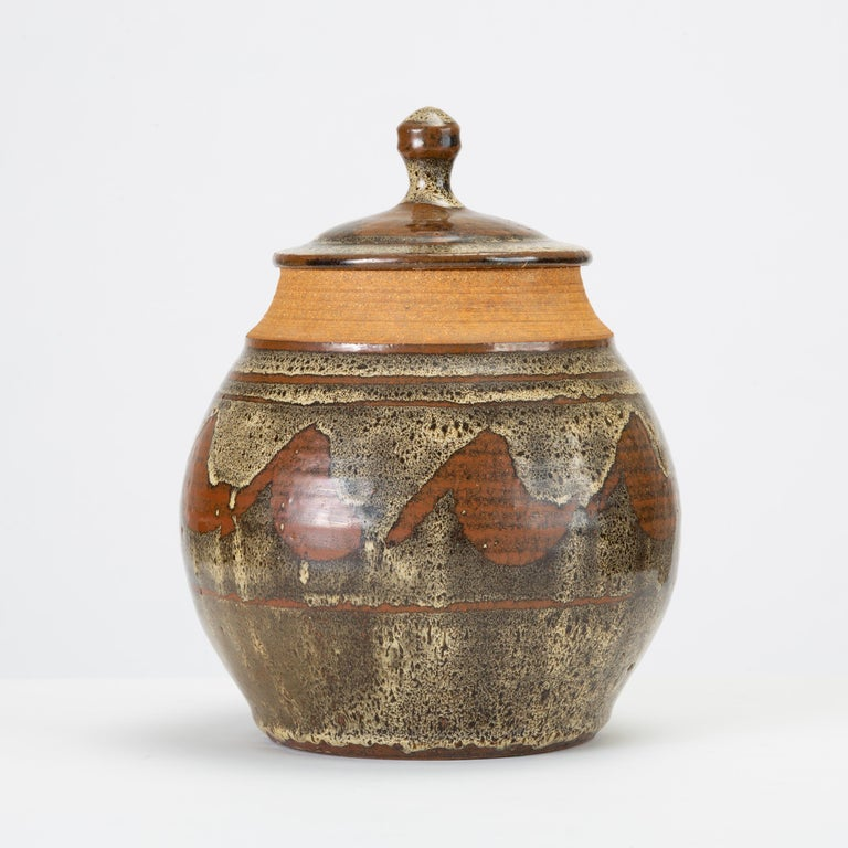 American California Modern Studio Pottery Jar with Abstract Pattern by Don Jennings For Sale