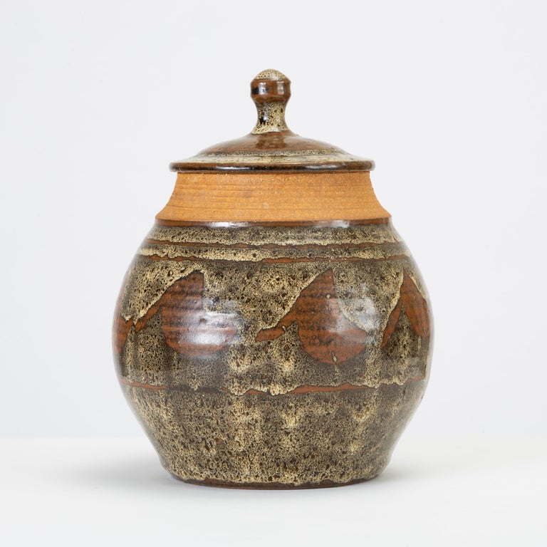 Glazed California Modern Studio Pottery Jar with Abstract Pattern by Don Jennings For Sale